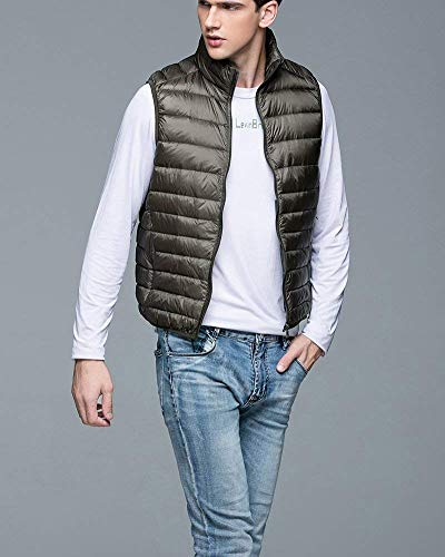 Comfortable Warm Slim Jacket Color Breathable Men's Armee Vest Battercake Fastener Lightweight Winter Coat Sleeveless Down Solid Jacket grün Vest w4Z7FOnyF