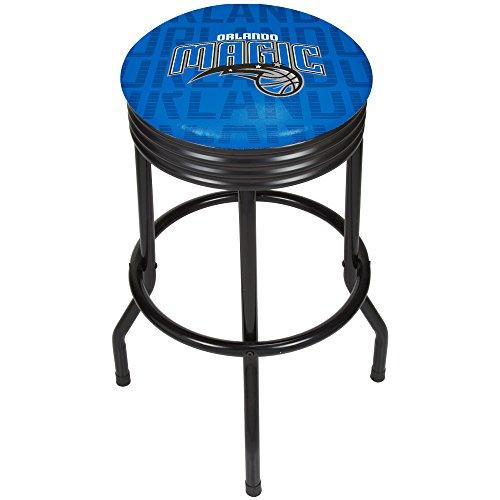 Trademark Gameroom NBA1006-OM3 NBA Black Ribbed bar Stool - City - Orlando Magic (City Furniture Orlando)