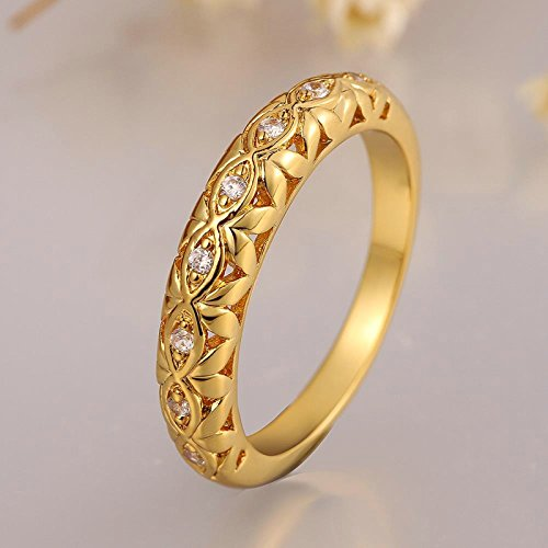 Gnzoe Jewelry Women 18K Gold Plated Finger Rings Elegant Design Row Drilling Form Wedding Band Inlaid CZ Zircon White Gold