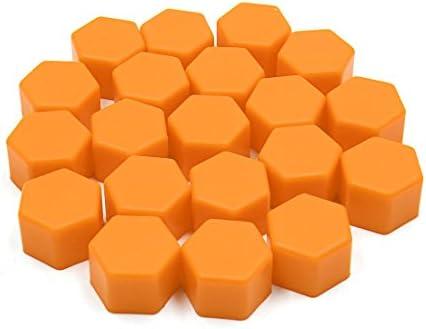 uxcell ナットキャップ ナットカバー シリコーン製 タイヤスクリューキャップり 19mm オレンジ 20個入り