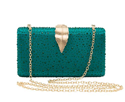 (Sparkling Envelope Evening Clutch Purse for Women Vandysi Elegant Crystal Bag with Leaf Clasp for Wedding Party)