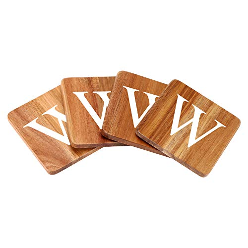 Wood Coasters for Drinks - 4-Pack Square Cup Coasters Personalized Monogram Coasters | Funny Housewarming Gift Wedding Decorations Or Even For Your Kitchen, Office Desk & Coffee Table ()