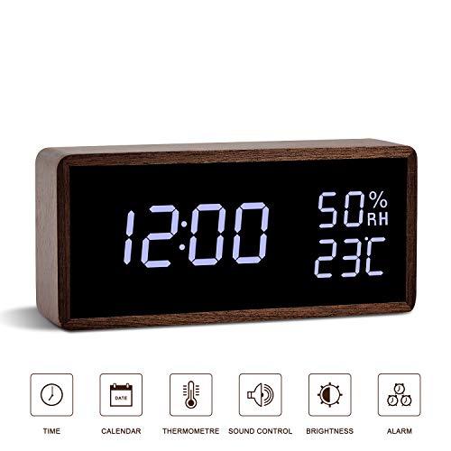FiBiSonic Alarm Clock, Wood Digital Clock with Adjustable Brightness Voice Control Large Display (Micro Usb Clock Alarm)