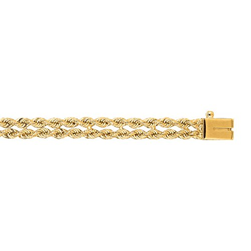 (IcedTime 14K Yellow Gold 5mm wide Two-Strands Multi Line Rope 8