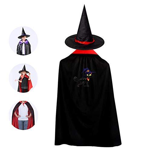69PF-1 Halloween Cape Matching Witch Hat Hidden Black Cat Wizard Cloak Masquerade Cosplay Custume Robe Kids/Boy/Girl Gift Red]()