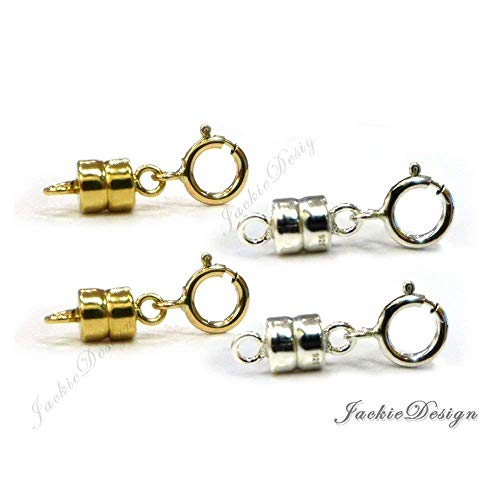 Magnetic Clasps Converter for Necklace 14K Gold Filled (2x) 925 Sterling Silver (2x)