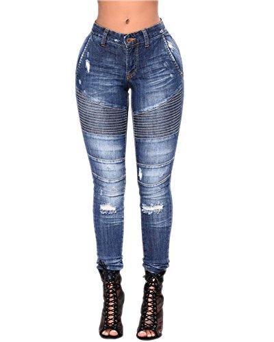 Strappati Leggings Immagine Alta Jeans Vita Denim Come Scarni Casuale Pantaloni Donna Boyfriend w8S4xOt
