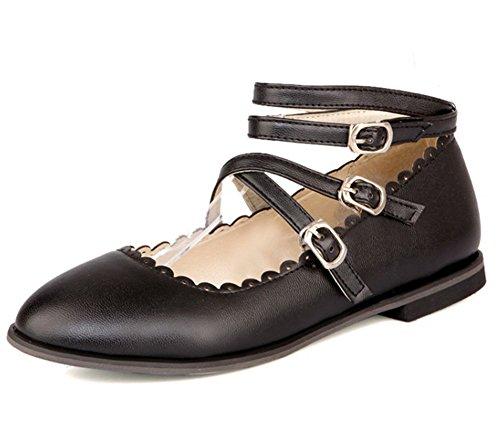 Easemax Femmes Douces Gladiateur Boucle Sangles Bout Pointu Chaussures Plates Noir