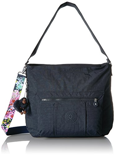 Kipling Carley Solid Hobo Crossbody Bag with a Floral Printed Strap, True Blue by Kipling