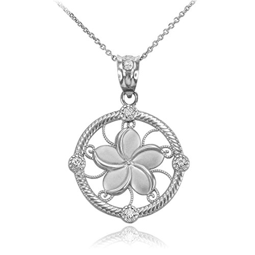 (14K White Gold Hawaiian Plumeria Flower Diamond Pendant Necklace (18))