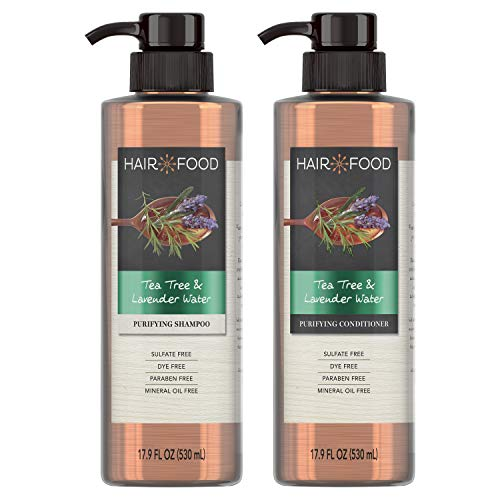 Hair Food Sulfate Free Clarifying Shampoo and Conditioner Set, Infused with Tea Tree and Lavendar Water, Natural…