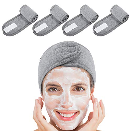 4 Counts Spa Facial Headband Whaline Head Wrap Terry Cloth Headband Stretch Towel with Magic Tape for Bath, Makeup and Sport (Gray)