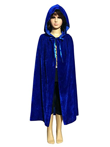 Blue Hooded Cape Costume (Magic Halloween Christmas Party Vampire Hooded Cloak Cosplay Dress Costume Cape (53
