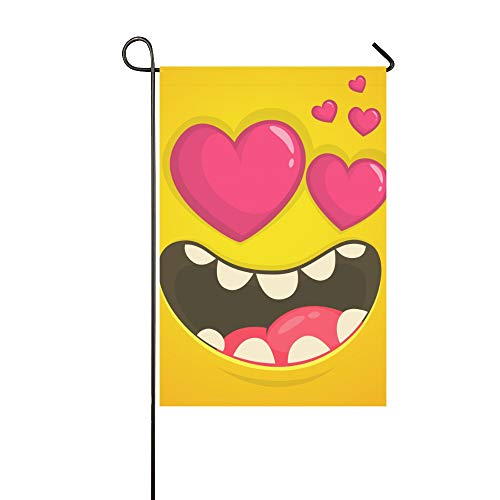 WIEDLKL Home Decorative Outdoor Double Sided Cartoon Cool Monster Face Love Heart Garden Flag House Yard Flag Garden Yard Decorations Seasonal Welcome Outdoor Flag 12x18in Spring Summer Gift -
