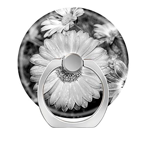 Bsxeos 360 Degree Rotation Cell Phone Ring Holder Mobile Phone Finger Stand with Car Mount Stand Work for All Smartphone and Tablets-Gerbera Daisy Black White - Gerbera Daisy Base