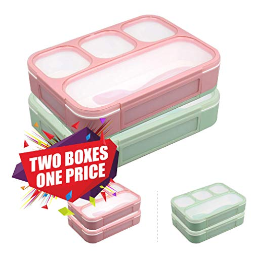 New Japanese Bento Lunch Box - Leakproof Bento Lunchboxes, Lunch Containers 4 Compartments (2-Pack), no smells, food prep, meal planning, Microwave and Freezer Safe - FDA Approved and BPA Free by New Tomorrow