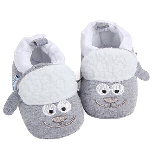 BZLine® Nettes Jungen-Mädchen-Baby-weiche Schuhe weiche soled Krippen-Schuhe Grau