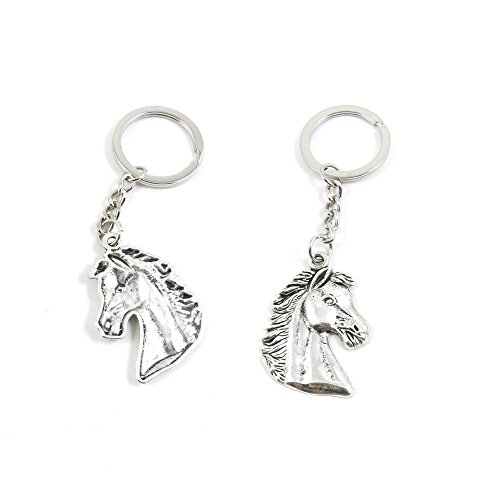 50 PCS Horse Head Keychain Keyring Jewelry Making Charms Door Car Key Tag Chain Ring T3XL6Y