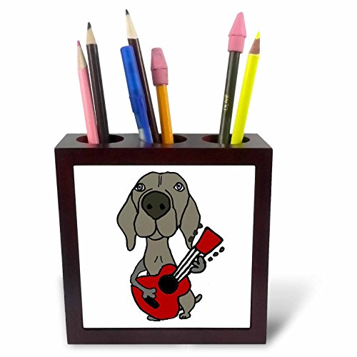 3dRose Funny Cute Weimaraner Dog Playing Red Guitar Tile Pen Holder, 5