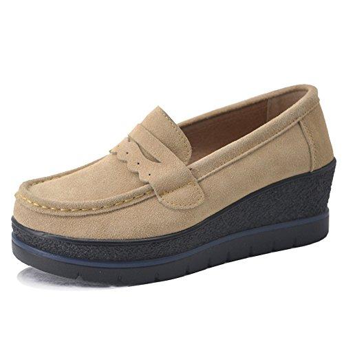 HKR-775xingse40 Women Platform Suede Moccasins Moc Toe Penny Loafers Slip On Wedge Fashion Sneakers Tan 8 B(M) (Brown Moc Toe Wedge Heel)