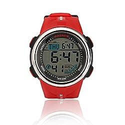 Teenagers Sport Watch   Multifunctional Wrist Clock   Digital Display   5ATM Waterproof  EL Backlight   Stopwatch   Chronograph   3 Alarms   Chime   PU Strap for Boys Girls (Red)