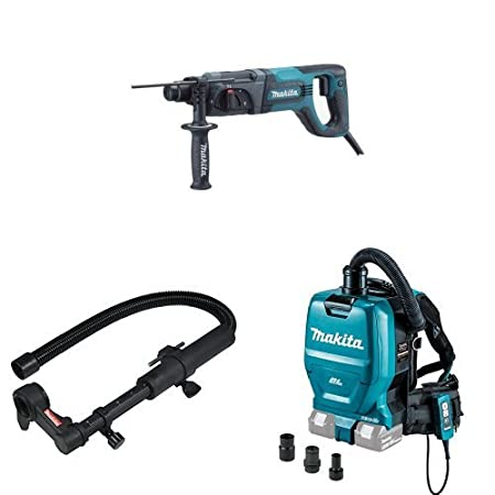 Makita 193472-7 Dust Extraction Attachment with Makita XCV05ZX 8V X2 LXT Lithium-Ion 36C Brushless Cordless 1 2 gallon HEPA Filter Backpack Dry Vacuum with Tool Adapters