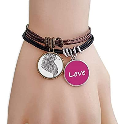Bird Paint Black Fierce Love Bracelet Leather Rope Wristband Couple Set Estimated Price £9.99 -