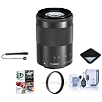 Canon EF-M 55-200mm f/4.5-6.3 IS STM Lens, Black - Bundle With 52mm UV Filter, Cleaning Kit, Lens Wrap (19x19), Lenscap Leash, Software Package