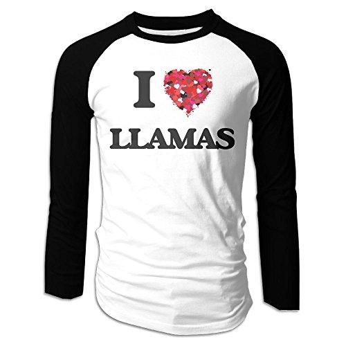 Puppylol Men's I Love Llamas Long Sleeve Raglan T-Shirts (Toys R Us Albany Ny)