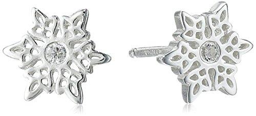 Disney Sterling Silver Frozen Snowflake Post Stud Earrings (Winter Earrings Snowflake)