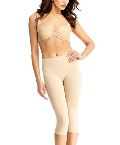 Womens High Waisted Capri Large Nude-Large-Nude
