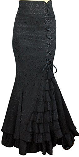 CSDttT -Shimmery Night in London- Jacquard Fishtail Victorian Vintage Style Black Skirt (P26) -