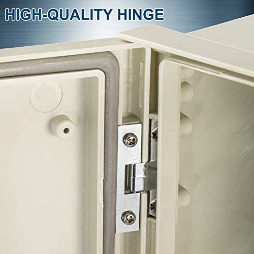 """41lG%2BASbNJL. AC VEVOR Fiberglass Enclosure 11.8 x 9.8 x 5.5"""" Electrical Enclosure Box NEMA 3X Electronic Equipment Enclosure Box IP65 Weatherproof Wall-Mounted Electrical Enclosure With Hinges & Quarter-Turn Latches     11.8 x 9.8 x 5.5"""" Fiberglass Electrical Enclosure Box The electrical box is molded from durable fiberglass reinforced polyester (FRP). With a sophisticated lock core, high-strength hinge, sealing rubber strip, and IP65 protection level to well-protect the internal electrical in harsh environments. It is ideal for protecting equipment from harsh environments and tampering. It is widely used for indoor and outdoor applications to protect circuits from liquids and corrosion, such as electricity, construction, hotel, and other industries.key Features Fiberglass Reinforced Polyester The electrical box features fiberglass reinforced polyester construction with high toughness, resistance to pressure, corrosion, and rust. The enclosure is impervious to dents. Thickened Dust Lock The inner lock core uses metal to prevent damage caused by excessive force. The durable and reliable cabinet door lock is applied for a convenient opening with longer service life. High Strength Hinge The electrical box adopts reinforced hinges, which will not be damaged if it is repeatedly opened and closed, and ensure that the box door is not easily broken by extrusion. Rubber Sealing Strip The sealing rubber strip is close to the box door with strong sealing performance to prevent dust and raindrops from dripping into the box and causing electricity leakage. IP 65 & Protective The IP65 waterproof design effectively blocks splashing water, rain, dust, snow, oil into the electrical enclosure and causing damage. It keeps your equipment well-protected in harsh environments."""