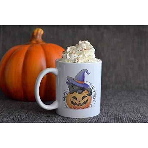 Tee Funny Cat and Halloween Pumpkin Mug -Happy Halloween Mug - Halloween mug - Christmas tea mug - Holiday gift - Christmas gift - Geek Mug 11 -