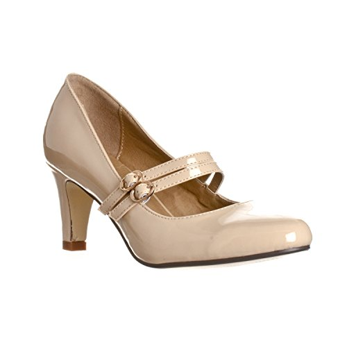 Riverberry Women's Mila Chunky, Mid Heel Mary Jane Pump Heels, Nude Patent, ()