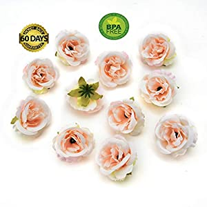 fake flowers heads Silk Rose Bud Artificial Flower for Wedding Party Home Plants Decoration Mariage Cloth Hat Accessories Fake Flowers 30pcs/lot 4cm (Light Pink) 1