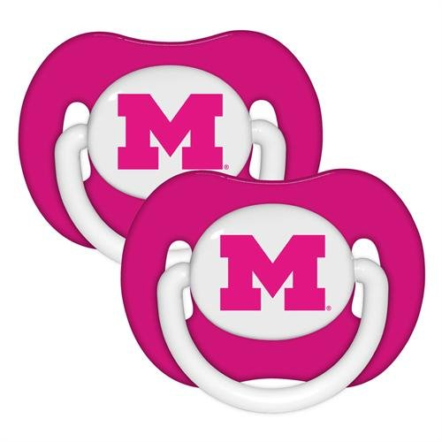 Michigan Wolverines Pink 2-pack Infant Pacifier Set -