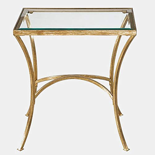 - Arched Iron Base End Table - High-Style Design End Table with Glass Top - Gold