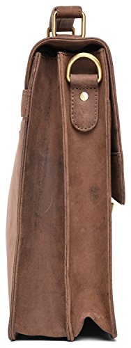 LEABAGS Miramar Briefcase of Genuine Buffalo Leather in Vintage Look - Muskat by LEABAGS (Image #6)