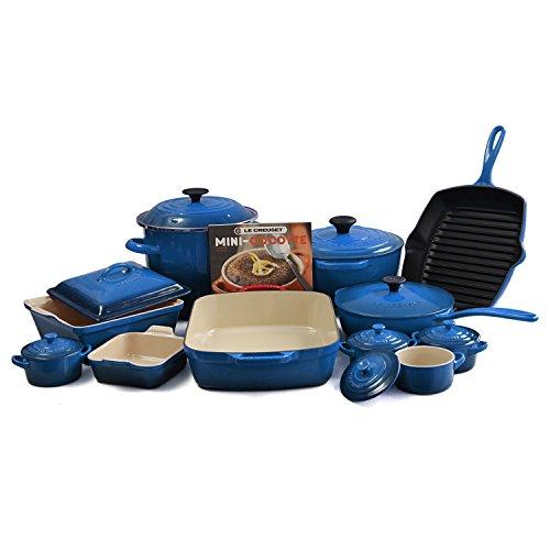 Le Creuset Marseille Blue Mixed 20 Piece Cookware Set