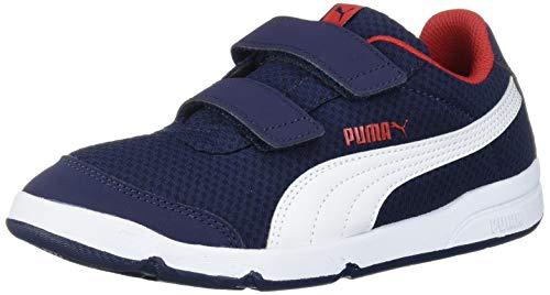 PUMA Unisex-Kid's Stepfleex Velcro Sneaker, Peacoat White-High Risk Red, 3.5 M US Big Kid