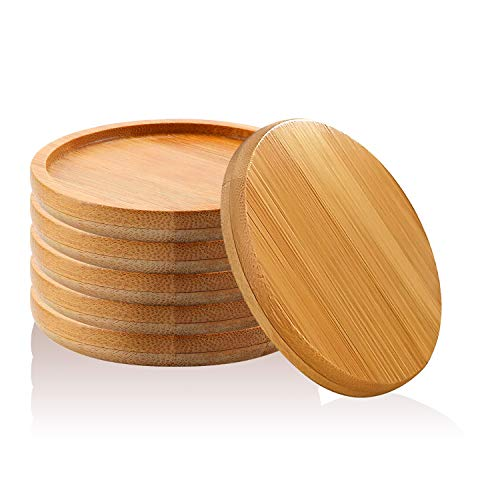 T4U 3.25 Inch Bamboo Round Bamboo Tray Sandy Beige Set of 6 (Planter Base)