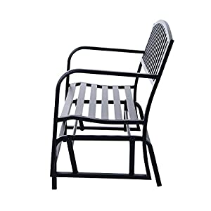 "Outsunny 50"" Outdoor Steel Patio Swing Glider Bench - Black"