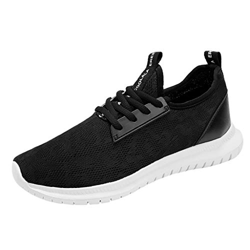 (WENSY Women's Fashion Solid Tie Casual Shoes Breathable Lace Men's Sports Running Shoes Sports Shoes Platform Shoes(Black,35))