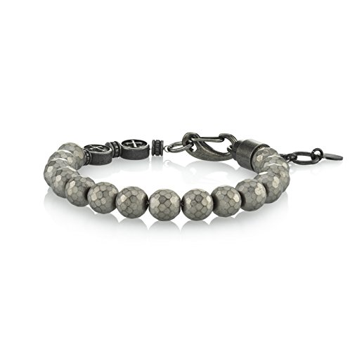 SPARTAN Hematine Beads and Leather Stainless Steel Men's Bracelet (Grey-Hematite) (Mens Steel Stainless And Leather Bracelets)