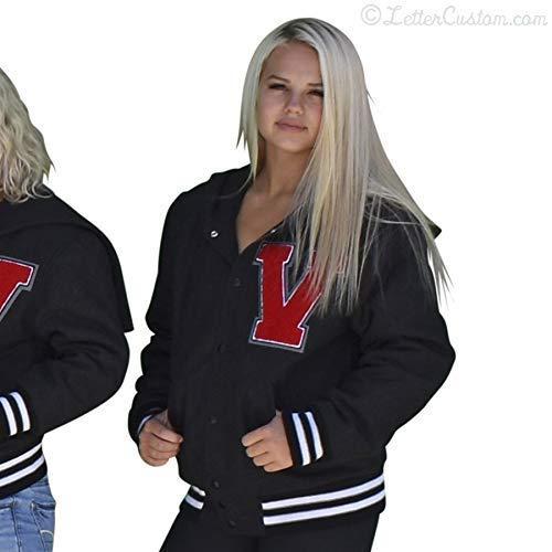 Womens Varsity Letter Jacket Gray Oxford Melton Wool with Zipper Hood