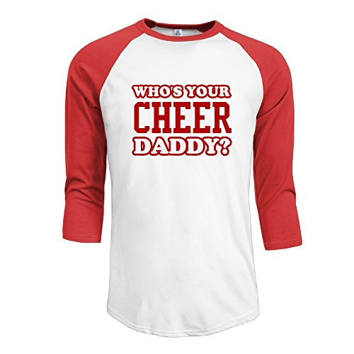 CCGroup Men's Who's Your Cheer Daddy Father Day Plain Raglan Tops Tee Shirt