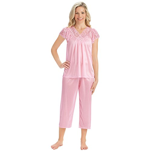 (Collections Women's Lace Trim Short Sleeve Tricot Satin-Like 2pc Pajama Set, Pink, X-Large)