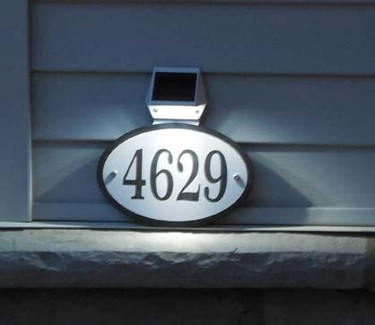 Oval Lighted Address Plaque - Comfort House Solar Light House Number Sign - Illuminated Address Sign - Lighted Address Plaque J0014