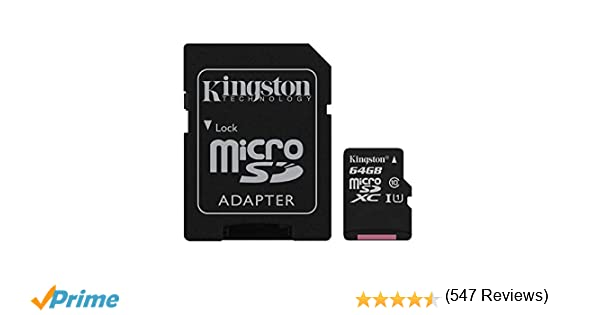 DAM. SDCSC64GB. Tarjeta Microsd Clase 10 Uhs-I Kingston 64Gb + Adaptador. Velocidad De Transmisión Mínima: 10Mb/S. Negro